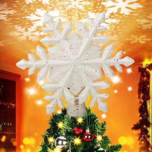 BATTOP Christmas Tree Topper Lighted with Rotating Magic Snowflake Projector, 3D Glitter Lighted Sliver Snowflake Christmas Lights Tree Topper for Christmas Tree Decorations