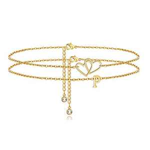 Turandoss Two Heart Ankle Bracelets for Women, 14K Gold Filled Layered Anklet Beach Style Alphabet Initial Ankle Bracelets for Women Anklet with Initials P