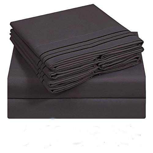 VERZEY Full Bedding Sheet 6 Pieces Microfiber 1800tc Soft Cozy Cooling Wrinkle, Tear, Fade-Resistant Deep Pocket(Dark Grey)