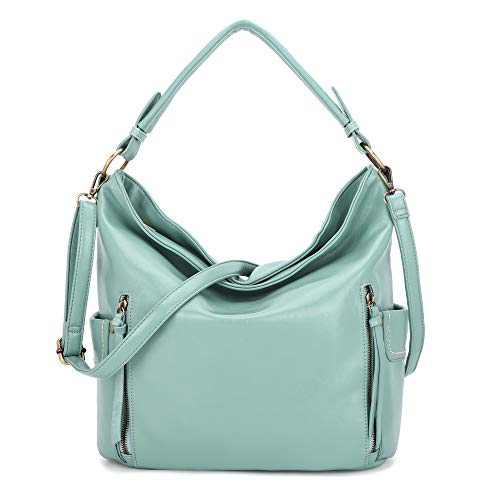 Women Handbag Designer Leather Hobo Handbags Shoulder Bucket Crossbody Purse (N9002#Y679#63-BEAN GREEN)