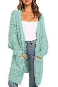TARSE Womens Long Cardigans Waffle Oversized Open Front Knit Sweater with Pockets, Batwing Sleeve, Green, S
