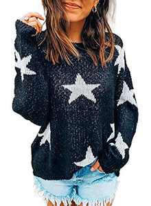 LOSRLY Womens Round Neck Long Sleeve Star Knitted Sweater Color Block Loose Pullover Blouses Tops Black X-Large