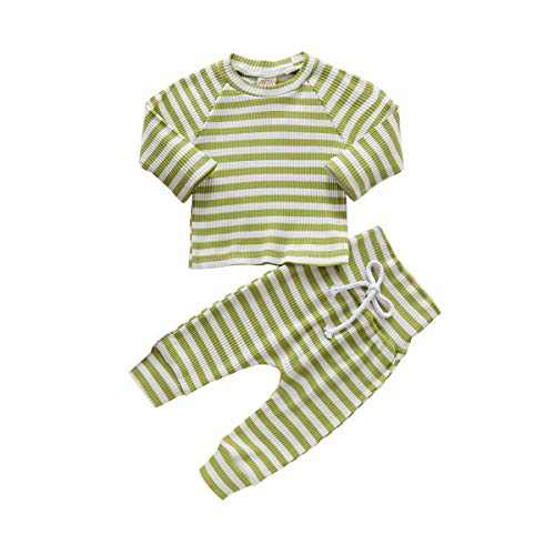 Toddler Little Baby Boys Girls Unisex Pant Sets Stripe Knitted Long Sleeve Tops+Pants 2 Pcs Neutral Casual Clothes Set Winter Clothes for Baby Girl (green1, 18-24 Month)