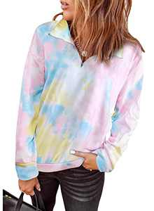 Dokotoo Women's Casual 1/4 Zipper Tie Dye Printed Sweatshirts Loose Fit Long Sleeve Stand Collar Pullover Oversized sweatersTunic Tops Multicolor Large