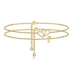 Turandoss Heart Initial Ankle Bracelets for Women, 14K Gold Filled Layered Anklet Beach Style Summer Anklet Initial Bracelets for Women Anklet with Initials R