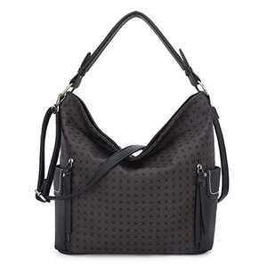 Women Handbag Designer Leather Hobo Handbags Shoulder Bucket Crossbody Purse (N9002P#33-302#6/K851#2-COFFEE/COFFEE)