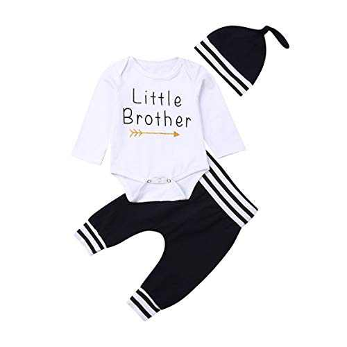 Newborn Baby Boys Clothes Set Long Sleeve Hello World Letter Print Romper Stripe Pants Hat 3Pcs Outfits (A-Blue-A, 3-6M)