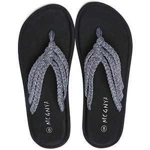 UTENAG Women's Flip Flops Yoga Mat Comfortable Braid Slippers Beach Thong Strap Flat Sandals Grey