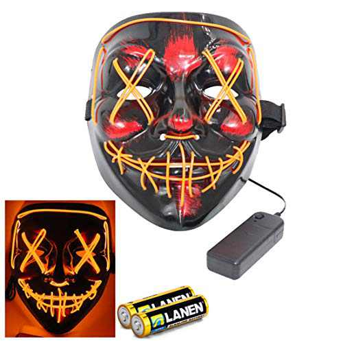 ThEast Halloween Mask Cosplay LED Costume Mask EL Wire Light up for Kids Adults-With 2 x AA batteries (Orange)