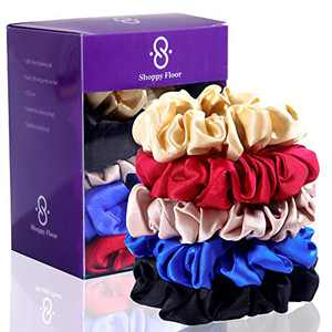 100% Pure Mulberry 19 Momme Silk Scrunchies for All types of Hair & Age | Soft , Hair-Friendly , Sleep-pro , Anti-Breakage Ties for Girls & Women | Black, Champagne, Pink, Red & Blue by Shoppy Floor