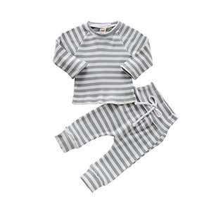 HZYKOK Infant Baby Girls Boys 2 Pieces Pants Set Solid Stripe Knitted Long Sleeve Tops Sweatshirt & Pants Pajamas Outfits Tracksuit Toddler Girl Clothes (blue1, 6-12month)