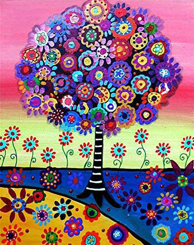 Paint by Numbers 5D DIY Diamond Painting Kits for Adults, Full Drill Cross Stitch Diamond Arts Craft for Relaxation, Indoor Wall Pendant, Home Decor and Gifts (Colorful Tree)