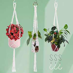 LadyRosian Macrame Plant Hanger with 6 Hooks - 3 PCS Different Sizes/Style Hanging Planters Holder for Outdoor/Indoor, Wall Hanging Plant Basket, Cotton Rope Hanging Succulent Planters Holder
