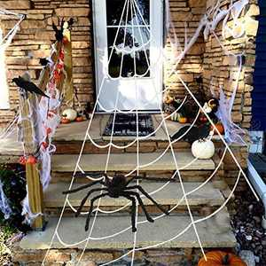 Adeeing Trigonometry Spider Web Set with Large Fake Furry Spider and Stretch Cobweb for Indoor Outdoor Courtyard Halloween Party Decoration