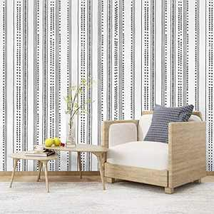 17.7 in x 118 in Modern Black White Peel and Stick Wallpaper Self Adhesive Removable Contact Paper Vinyl Wall Covering Wallpaper for Home Decoration