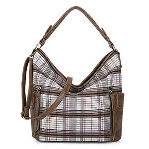 Women Handbag Designer Leather Hobo Handbags Shoulder Bucket Crossbody Purse (N9002G#33-577#1/HG1922#12-WHITE/TAUPE)