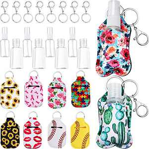 30 Pieces Empty Travel Bottle Keychain Holder Set, Include 30 ml Liquid Bottle Container with Flip Cap, 30 ml Fine Mist Spray Bottle, Keychain Hook with Ring, Keychain Holder for Liquid Cosmetic