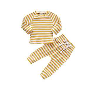 HZYKOK Infant Baby Girls Boys 2 Pieces Pants Set Solid Stripe Knitted Long Sleeve Tops Sweatshirt & Pants Pajamas Outfits Tracksuit Toddler Girl Clothes (yellow1, 6-12month)