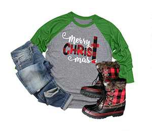 Merry Christmas Graphic T-Shirt Women Letter Printed Long 3/4 Sleeve Splicing Top (Green, 2XL)