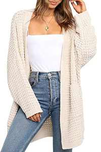 TARSE Womens Long Cardigans Waffle Oversized Open Front Knit Plus Sweaters with Pockets, Batwing Sleeve, Apricot, XL