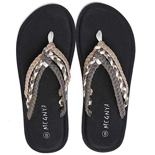 UTENAG Women's Flip Flops Yoga Mat Comfortable Braid Slippers Beach Thong Strap Flat Sandals Brown