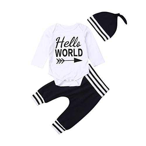 Newborn Baby Boys Clothes Set Long Sleeve Hello World Letter Print Romper Stripe Pants Hat 3Pcs Outfits (A-Blue-B, 12-18M)