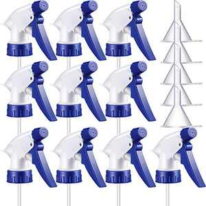 10 Pieces Trigger Sprayer Spray Bottle Top Replacement Stream Mist Bottle Nozzle and 5 Pieces Clear Mini Funnel for Home Office Cleaning Supplies, Fit Standard 28/400 Neck Bottles (Blue)