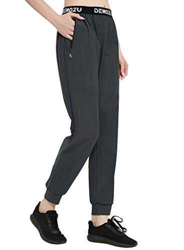 DEMOZU Women's Athletic Joggers Quick Dry Nylon Hiking Running Workout Golf Jogger Pants with Zipper Pockets, Dark Grey, XS