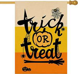 Baccessor Halloween Trick or Treat House Flag Vertical Double Sided 28 x 40 Inch Pumpkin Spider Burlap Small Garden Yard Flag for Outdoor Holiday Party Seasonal Decoration