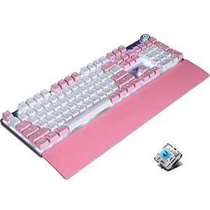 Cute Mechanical Keyboard, with Multimedia Knob, Wrist Rest, Metal Panel, White Backlit, Pink and White PBT Keycaps, USB Wired Full-Size Keyboard for Gaming and Office PC Laptop Mac (Blue Switch)