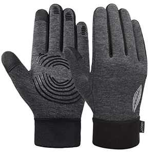 VBIGER Kids Winter Gloves Boys Girls Anti-Slip Sports Cycling Gloves TouchScreen Gloves with Soft Warm Fleece Lining, Reflective Leaf Design (Grey, M) 8-10 Years