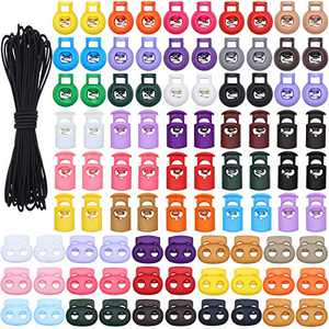 150 Pieces Plastic Spring Cord Locks Double Single Hole Toggle Stopper Colorful Sliding Fastener Drawstring Rope Buttons with 10.94 Yards Cord Stretch String for Backpack Camping Daily Supplies