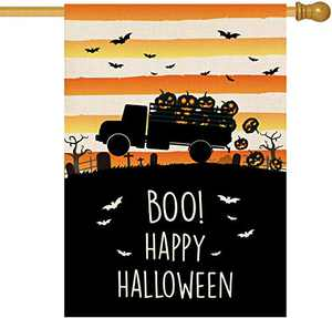 Baccessor Happy Halloween Boo House Flag Pumpkin Truck Spooky Pumpkin Fall Autumn Vertical Double Sized Large Burlap Garden Yard Flag for Outdoor Holliday Party Decoration 28 x 40 Inch