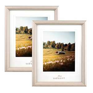 Metrekey 8x10 Picture Frame with Mat and High Definition Glass for Wall Mount and Tabletop Display 8x10 or 6x8 Photos Set of 2 Beige