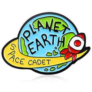 Enamel Pin Lapel Decoration Brooch Metal Cute Small for Men Women Boy Girl Space Cadet Planet Earth