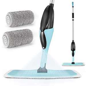 MOOSOO Spray Mop, Hardwood Floor Mop with 2 Washable Pads and 500ml Refillable Bottle, 360° Microfiber Wet Dry Mop for Home Hardwood/Office Floor Cleaning - MP41