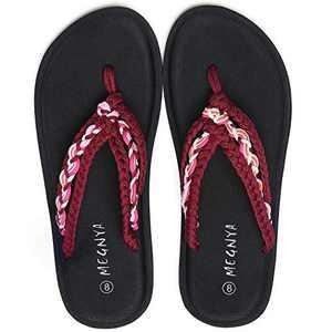 UTENAG Women's Flip Flops Yoga Mat Comfortable Braid Slippers Beach Thong Strap Flat Sandals Pink