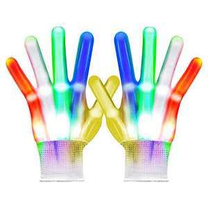 VICSPORT LED Gloves, Flash Finger Lights Gloves, 5 Colors 6 Light Modes Colorful LED Rave Gloves for Kids Games Halloween, Dance, Costumes