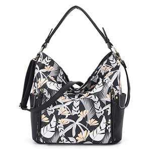 Women Handbag Designer Leather Hobo Handbags Shoulder Bucket Crossbody Purse (N9002H#33-404#33/K851#1-BLACK/BLACK)