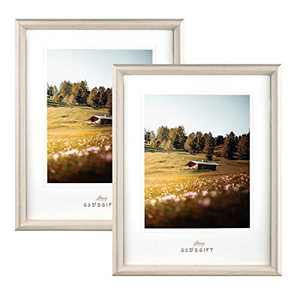 Metrekey 11x14 Picture Frame with Mat Display 11x14 or 8x10 Photos Wall Mount and Tabletop Plexiglass Set of 2 Beige