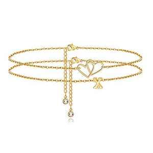 Turandoss Heart Initial Ankle Bracelets for Women, 14K Gold Filled Layered Initial Ankle Bracelets for Women Anklet with Initials X