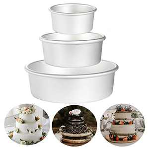 """Aluminum Round Cake Pans, OAMCEG 3 Pcs (4""""/6""""/8"""") Professional Nonstick & Leakproof Round Baking Pans Layer Cake Pans Tin Set with Removable Bottom for Birthday Wedding Tier Cake"""
