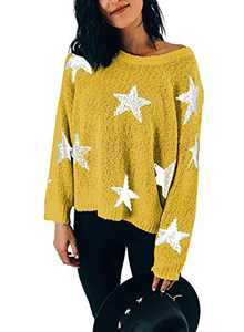 LOSRLY Womens Ladies Crewneck Long Sleeve Cute Star Pattern Pullover Sweaters Loose Cable Knitted Tops Blouses Yellow Medium