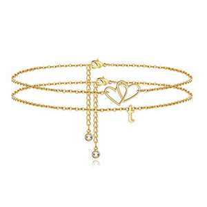 Turandoss Initial Heart Ankle Bracelets for Women, 14K Gold Filled Layered Two Heart Initial Ankle Bracelets for Women Anklet with Initials T