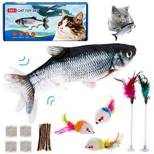 YRVHCK Flopping Fish Cat Toy Electric Cat Fish Toy Flopping 12in, Rechargeable Catnip Toys Set Include 3 Mouse, 4 Pack catnips, 4 Nettle and 2 Feather Sticks