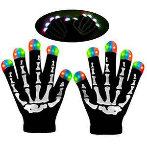 LED Gloves Halloween gifts Finger Lights Fingertips Flashing 3 Colors 6 Modes Black Skeleton Gloves for Party Favors Light Up Toys Novelty Halloween gifts (Large23x11cm)