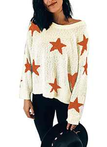 LOSRLY Womens Lightweight Sweater Cute Star Color Block Oversized Casual Boat Neck Long Sleeve Knit Pullover Jumper Tops Beige X-Large