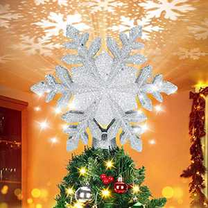 BATTOP Christmas Tree Topper Lighted with Rotating Magic Snowflake Projector, 3D Glitter Lighted White Snowflake Christmas Lights Tree Topper for Christmas Tree Decorations