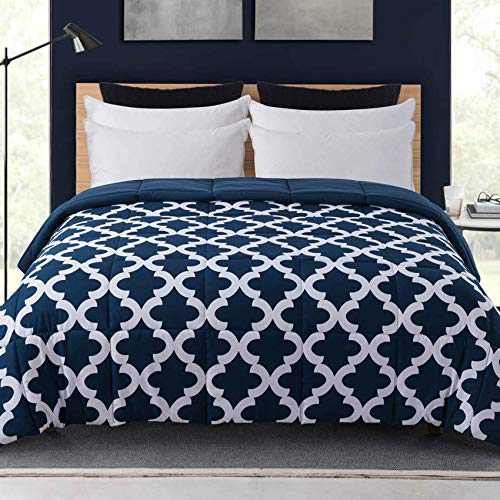Cosybay Full Comforter, Blue Printed and Blue Reversible Down Alternative Comforter, All Season Lightweight Duvet Insert, Double Sided(82×86 Inch)