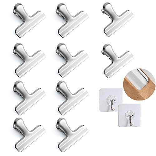 Chip Bag Clips,10 Pack 3'' Wide Stainless Steel Heavy Duty Chip Clips Bag Clips Food Clips, NO Sharp Edges,Great for Air Tight Seal Grip on Coffee & Food Bags, Kitchen Home Office Usage,and 2 Hooks